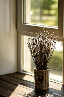 Jarrón con ramas de sauce florecientes.