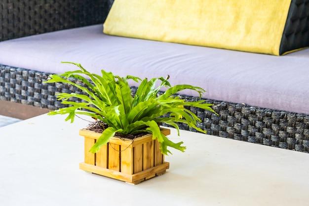 Jarrón verde planta e interior de decoración de árbol.