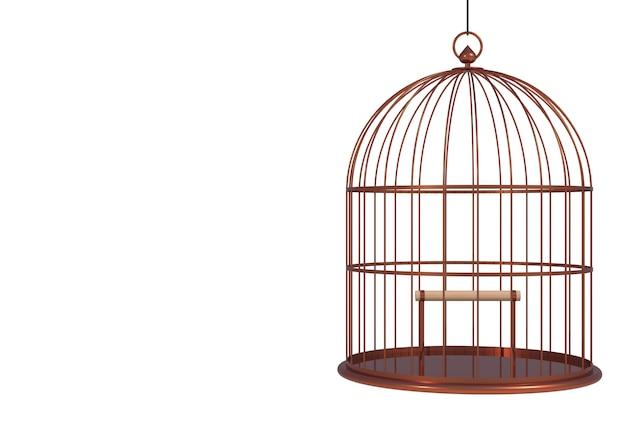 Jaula de cobre vacía del pájaro aislada en el fondo blanco