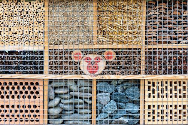 La jaula para insectos en un seto verde brinda protección y ayuda para el nido de abejas y otros insectos