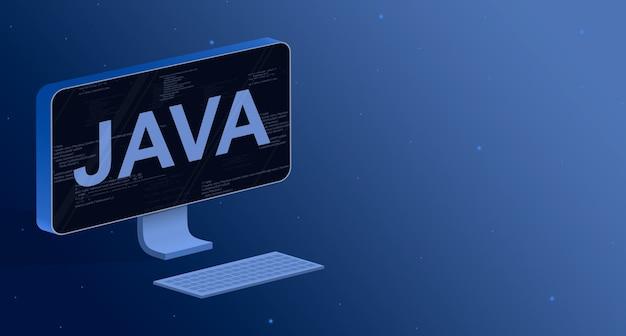 Java en una pantalla de computadora con elementos de código de programa 3d