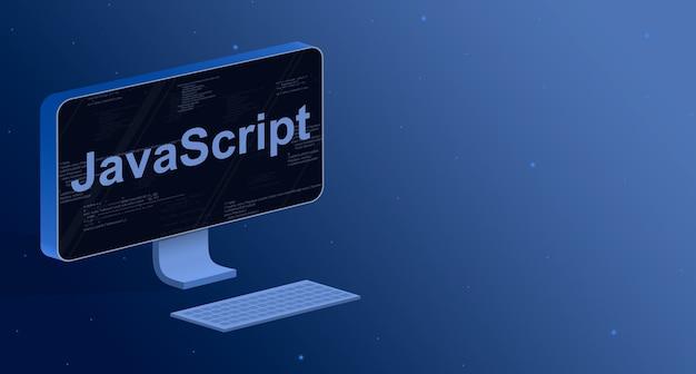Javascript en una pantalla de computadora con elementos de código de programa 3d
