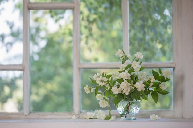 Jazmín en florero sobre alféizar