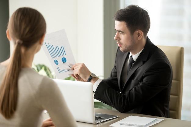 Jefe hablando de las perspectivas financieras de la empresa.