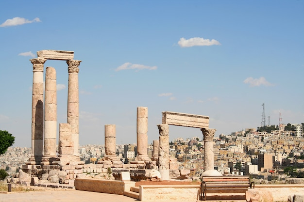Jerash antiguo, ruinas de la ciudad grecorromana de gera en jordania