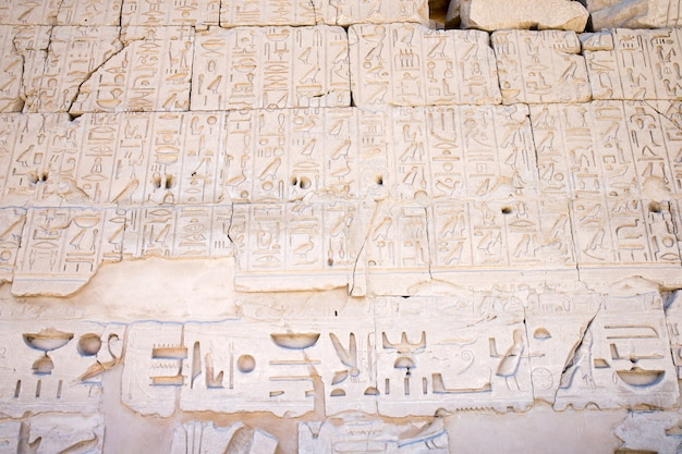Jeroglíficos del antiguo egipto tallados en la piedra