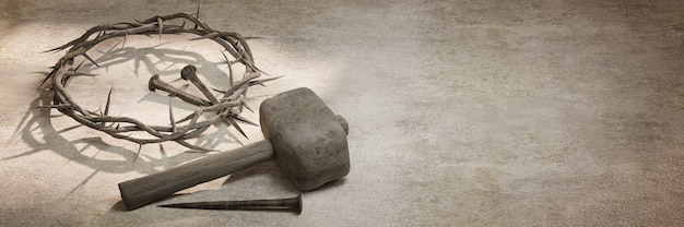 Jesucristo corona de espinas clavos y martillo representación 3d