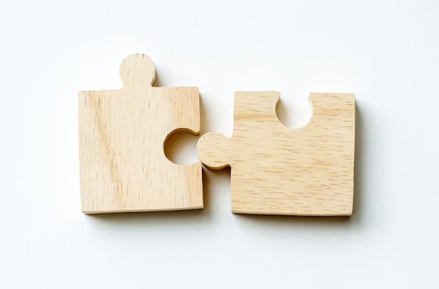 Jigsaw trabajo en equipo concepto macro disparo