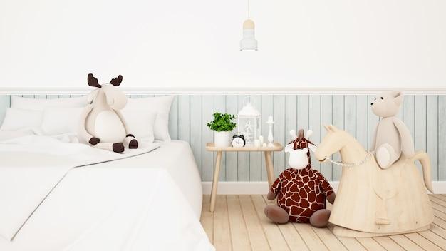 Jirafa con reno y oso muñeca en habitación de niños o dormitorio