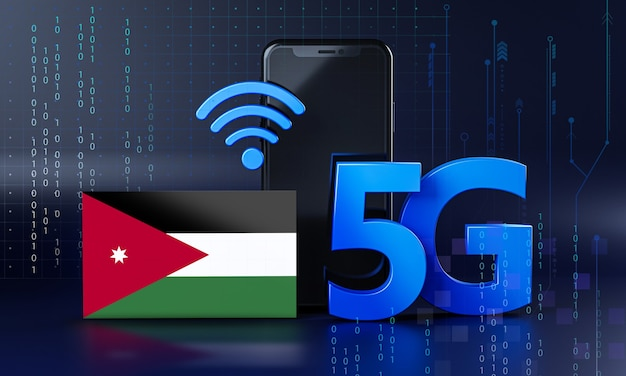 Jordan listo para el concepto de conexión 5g. fondo de tecnología de teléfono inteligente de renderizado 3d