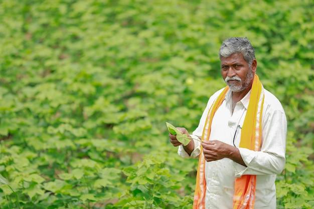 Joven agricultor indio trabajando en el campo