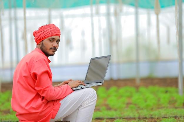Joven agricultor indio usando laptop en invernadero o polyhouse