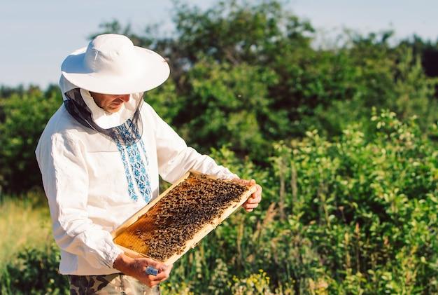 Joven apicultor trabajando en el colmenar.