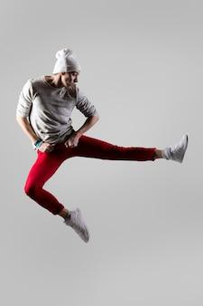 Joven, bailarín, saltar