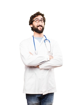Joven, doctor, hombre, pensamiento