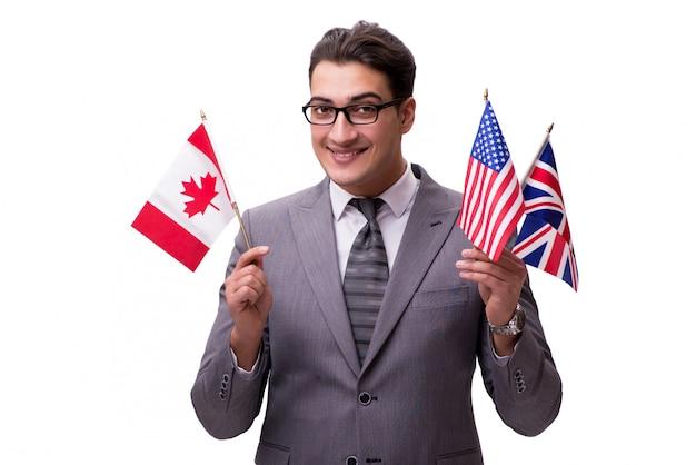 Joven empresario con bandera aislado en blanco
