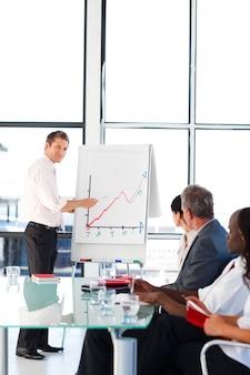 Joven empresario informando a las cifras de ventas a sus colegas