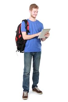 Joven estudiante con tablet pc