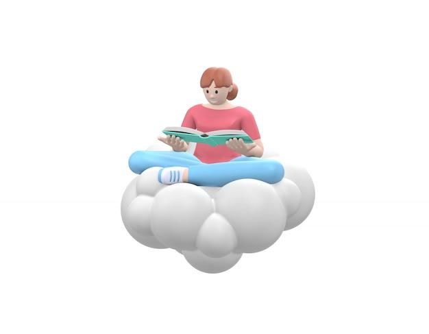 Una joven feliz en el cielo en una nube está leyendo un abucheo