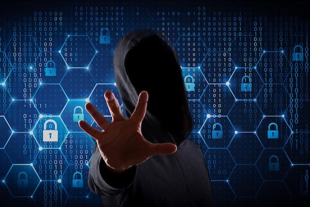 Joven hacker en concepto de seguridad de datos