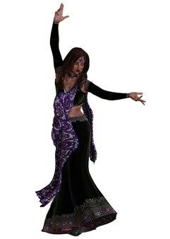 Joven india en sari púrpura, ilustración 3d.