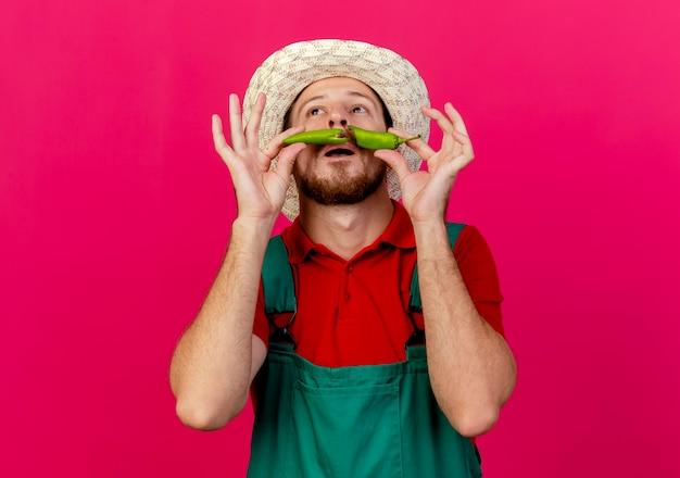 Joven jardinero eslavo guapo tonto en uniforme y sombrero sosteniendo mitades de pimienta por encima de la boca mirando hacia arriba haciendo bigote falso