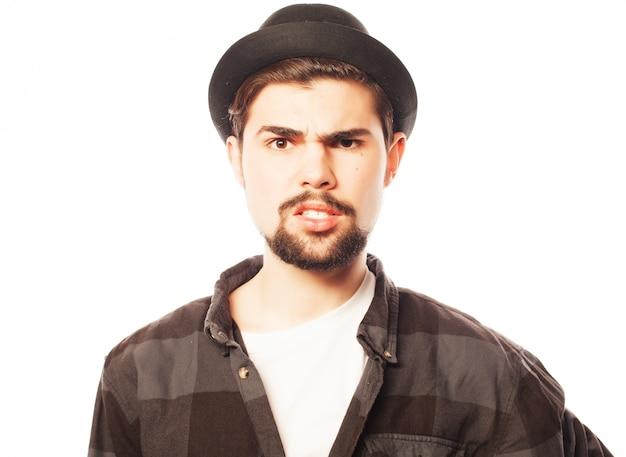 Joven, llevando, sombrero negro