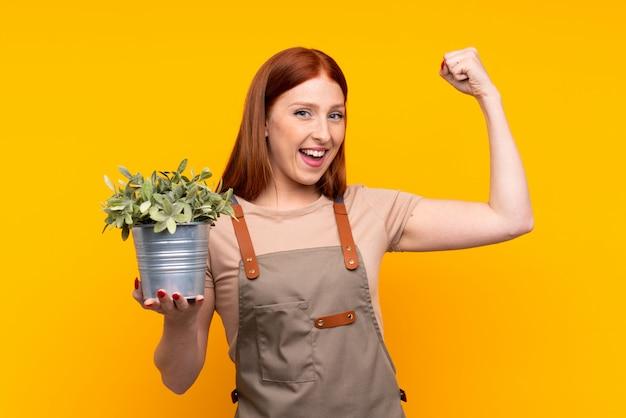 Joven pelirroja jardinero mujer sosteniendo una planta sobre pared amarilla aislada haciendo un gesto fuerte