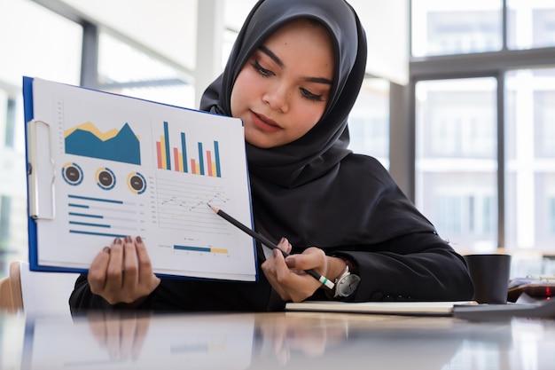 Jóvenes empresarios musulmanes con hiyab negro presentando informe comercial en reunión.