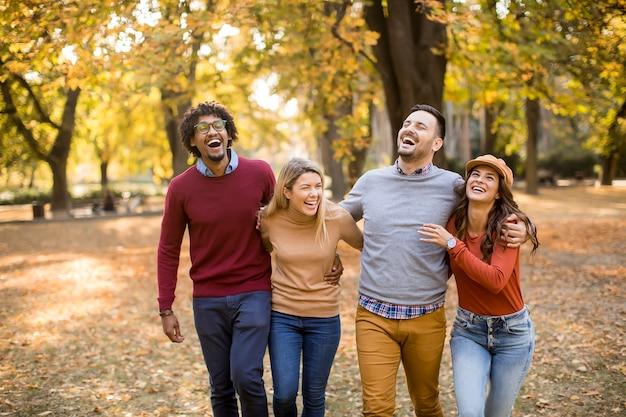 Jóvenes multirraciales caminando en el parque de otoño y divirtiéndose