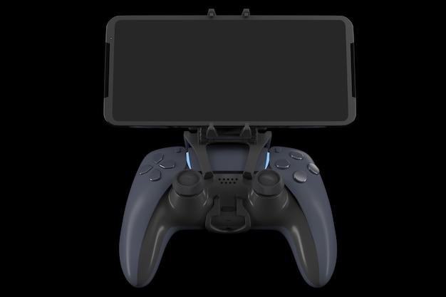 Joystick realista para jugar juegos en un teléfono móvil aislado en negro