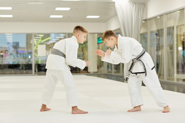 Judoistas peleando entre ellos