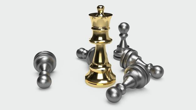 Juego de ajedrez 3d que rinde la idea abstracta para el contenido del negocio.