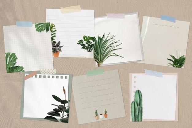 Juego de notas de papel decorado con plantas de interior.