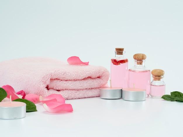 Juego de spa de aceite de rosas y velas perfumadas