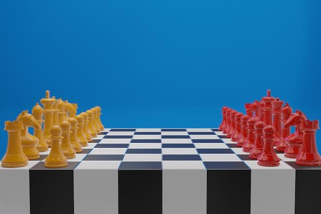 Juego de tablero de ajedrez, concepto de negocio competitivo.