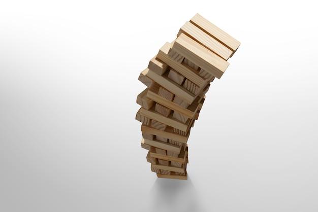 Juego de torre de bloques de madera se derrumba aislado en blanco