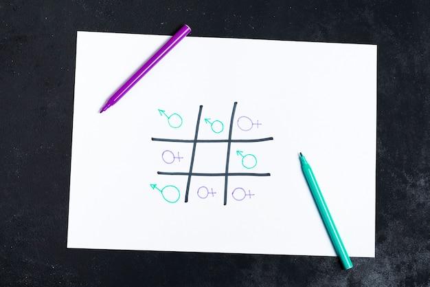 Juego de tres en raya jugado con símbolos de género de mujer y hombre