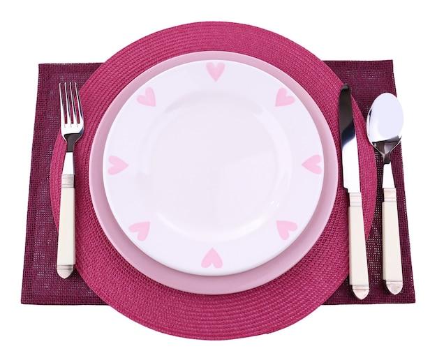 Juego de utensilios para cenar, aislado en blanco