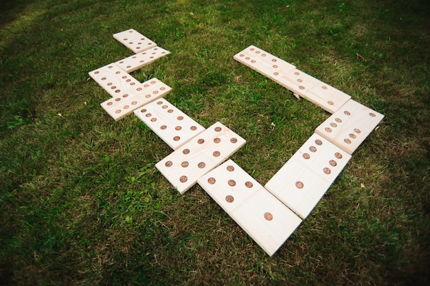 Juegos al aire libre, dominó, juego gigante al aire libre sobre hierba verde