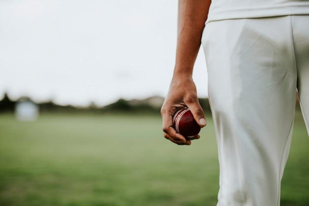 Jugador de críquet sosteniendo una pelota de cuero