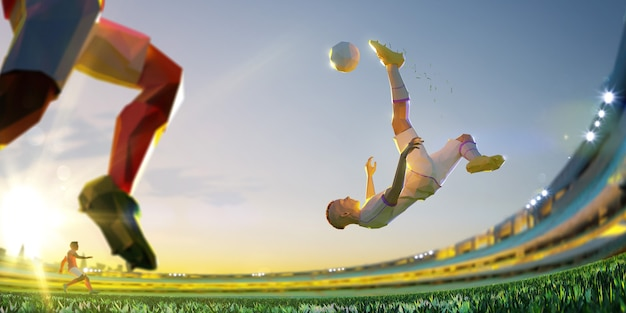 Jugador de fútbol en ataque. estilo poligonal