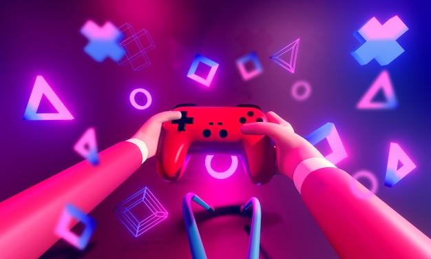 Jugador jugando juegos en línea con joystick inalámbrico
