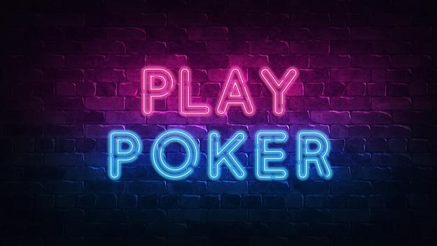 Jugar poker letrero de neón. brillo morado y azul.