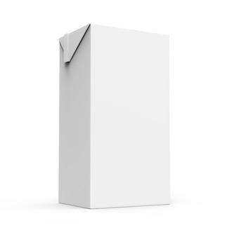Jugo, caja de cartón blanco leche aislado