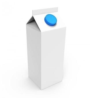 Jugo, caja de cartón blanco leche con tapa azul.
