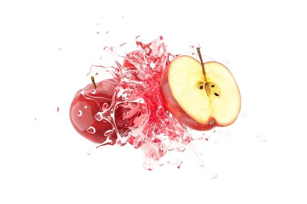 Jugo de manzana con manzana roja sobre fondo blanco render 3d