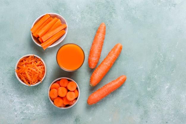 Jugo de zanahoria casero fresco.