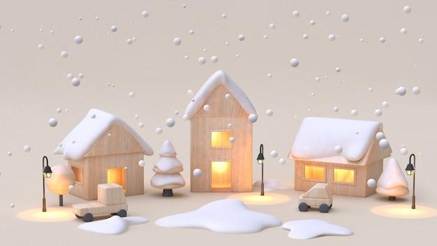 Juguete de madera pueblo-pueblo de dibujos animados estilo 3d rendering