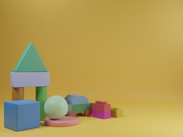 Juguetes de desarrollo infantil en 3d con fondo amarillo